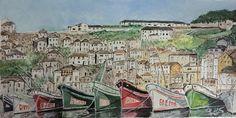 Puerto de Luarca pintado en acuarela y acrílico.
