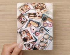 Donut Stationery - Set of 16 Folded Cards & Envelopes - 5.5x4""