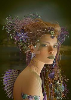 Lets begin a journey of fantasy and fairy tales. A lake and a fairy boat To sail in the midnight. Fantasy Mermaids, Mermaids And Mermen, Foto Fantasy, Fantasy Art, Magical Creatures, Fantasy Creatures, Merfolk, Fairy Art, Faeries