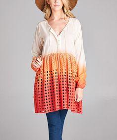 Look at this #zulilyfind! Red & Orange Dip-Dye Eyelet Tunic - Plus #zulilyfinds