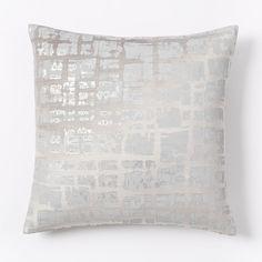 Cotton Luster Velvet Metallic Blocks Pillow Cover - Platinum