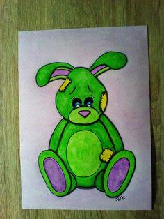 Inspiriert durch Pinterest habe ich mal einen Hasen entworfen. Der Hintergrund ist auf dem Original Bild dunkler, was aber auf dem Foto nicht so gut zu sehen ist. ✏Aquarell Farben und Stifte, Fineliner😘😍💗