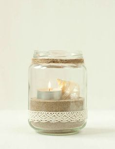 Glass, Sand and Salt Candle Holders Mason Jar Crafts, Bottle Crafts, Mason Jars, Candle Jars, Candle Holders, Candles, Vasos Vintage, Handmade Crafts, Diy And Crafts