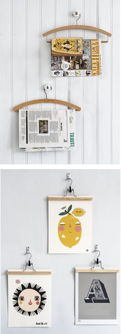 DIY: Art print and magazine holders using vintage hangers