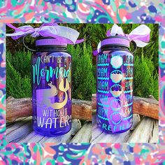 """Mermaid Water/Motivational Water Tracker/Water Reminder/""""Can't be a""""/Wide Mouth Water Bottle with Lid/Lots of Colors/Gift Water Reminder, Cute Water Bottles, Drink Bottles, Silhouette Cameo Projects, Girls Weekend, Bottle Design, Beach Day, One Pic, Canning"""