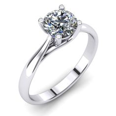 1.35 Round Cut Real Diamond Engagement Ring Enhanced SI2/H 14K White Gold #DiamondsCollection #Solitaire