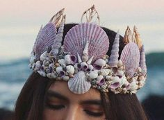 "The Signs as Shell Crowns "" Leo and Virgo: Aquarius and Aries: Gemini and Cancer: Libra and Taurus: Sagittarius and Pisces: Scorpio and Capricorn: "" Sea Crown, Ashe Maree, Seashell Crown, Seashell Jewelry, Seashell Crafts, Shell Crowns, Libra And Taurus, Virgo Aquarius, Mermaid Crown"
