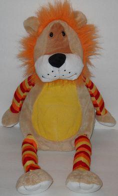 "Walmart Lion Plush Corduroy 20"" Orange Yellow Stripe Sweater Sock Knit  Stuffed  #Walmart"
