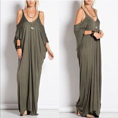 CATARINA cold shoulder maxi dress - OLIVE Cold Shoulder Maxi Dress 95% Rayon 5% Spandex.   AVAILABLE IN CHARCOAL, OLIVE AND BLACK.  NO TRADE PRICE FIRM Bellanblue Dresses Maxi