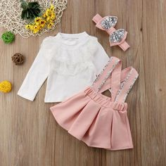Strap Skirt Set - 3 Pieces Baby Fitz Clothing - October 19 2019 at Baby Outfits, Little Girl Outfits, Kids Outfits Girls, Toddler Girl Outfits, Little Girl Fashion, Baby Girl Dresses, Baby Dress, Kids Fashion, Kids Girls