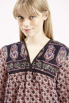 **Border Print Smock Top By Wild Past - Brands- Topshop