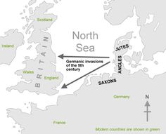 Map showing Germanic invasions that led to the spread of the English language. The invading tribes spoke similar languages and in Britain, it developed into what is now know as Old English.