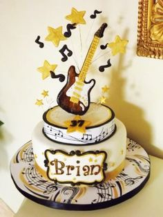 Guitar Cake - Cake by Lovely Cakes Simona Guitar Birthday Cakes, Guitar Cake, 21st Birthday Cakes, Fancy Cakes, Cute Cakes, Fondant Cakes, Cupcake Cakes, Bolo Musical, Music Cookies