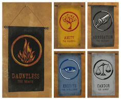 Divergent Banner Bundle! All five Divergent Factions on Hand Painted Canvas Banners by Lorinas, $80.00