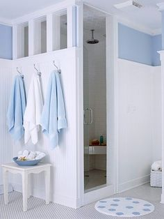 Bathroom Tour: Blue & White Cottage Style Walk-In Shower Partial walls provide a degree of privacy in the shower and toilet area while letting light and air circulate. Tile is a water-resistant material that is a great choice in the bath. Here tile covers Bad Inspiration, Bathroom Inspiration, White Cottage, Cottage Style, Farmhouse Style, Br House, House Bath, Douche Design, Bathroom Renos