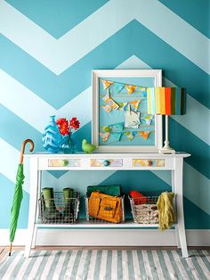Tap into the chevron trend and apply the pattern to your walls or another surface: http://www.bhg.com/decorating/paint/projects/paint-projects-ideas-and-patterns/?socsrc=bhgpin052514zigzagchevron&page=9
