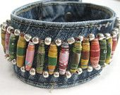 Large Boho Cuff with Colorful Paper Beads, Made from Recycled Jeans, for Men or Women
