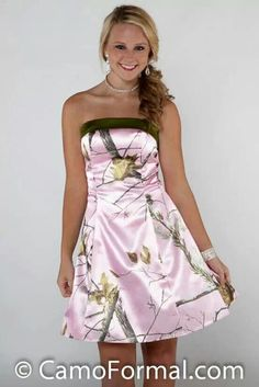 Bridesmaid dresses for camo wedding! (: