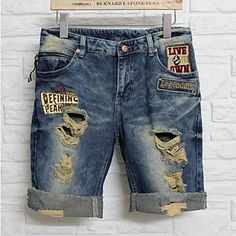 Summer Lover's Men and Women  Holes Denim Jeans Capris – USD $ 40.99
