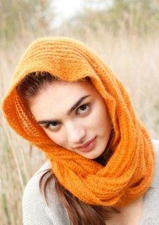 Oranger Loop, stricken mit Rebecca - mein Strickmagazin und ggh-Garn SURI ALPAKA (100% Suri Alpaka). Garnpaket zu Modell 24 aus Rebecca Nr. 51