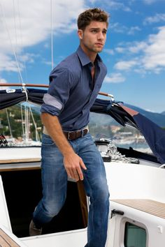I'm not a huge fan of that shirt, nor how close of a blue it is to his pants, but he's on a boat so it's okay.