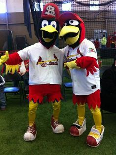 Louie hangs out with Big Brother Fred Bird at Cardinals Caravan!