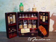 Miniature Apothecary Chest in Dark Wood. $245.00, via Etsy seller evminiatures