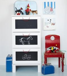 mommo design: Ikea Dresser Hacks, would be cute for extra storage anywhere! Ikea Dresser Hack, Boy Dresser, Dresser Drawers, Boys Nautical Bedroom, Kids Bedroom, Kids Rooms, Bedroom Red, Bedroom Small, Bedroom Themes