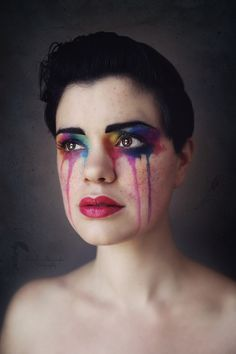 Vermont photographer, Shannon Alexander Photography, artistic face paint, creative makeup, pride makeup, rainbow tears, Halloween face paint, self portrait