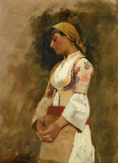 Theodoros Rallis - Young Girl in traditional Greek Dress Greek Paintings, European Paintings, Old Famous Paintings, Classical Period, Classical Art, Lausanne, Greek Art, 10 Picture, Painting Inspiration