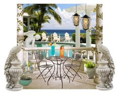 """""""Cocktails on the terrace"""" by sue-wilson1967 ❤ liked on Polyvore featuring interior, interiors, interior design, home, home decor, interior decorating, Varaluz and Kelly Lamb"""