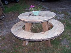Round Picnic Table Made From Spindle Ends And Recycled Reclaimed Barn Wood