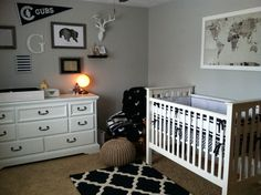Jack's Navy Nursery - finalized with pottery barn crib and Harper bedding!  Love it!