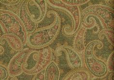 """Designer Fabric Green Gold Rose Paisley Upholstery Width: 54"""" Content: Cotton Blend Weight: Heavy Color: Green Gold Rose Orders for more than one yard will be one continuous piece. The print is a vertical print unless it states different. 