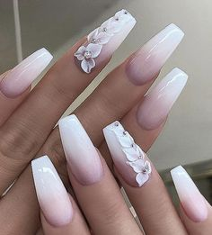 40 Pretty Nude & Ombre Acrylic And Matte White Nails Design For Short And Long Nails – Page 26 of 40 – Long Nails – Long Nail Art Designs Matte White Nails, White Acrylic Nails, Best Acrylic Nails, White Nail Art, Dark Nails, Pink Gel, Pink Ombre Nails, Acrylic Nails Coffin Ombre, Wedding Acrylic Nails
