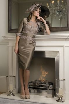e7206362db7f John Charles Coffee with Lace Detail and Bolero (FD205) Mother Of Groom  Dresses