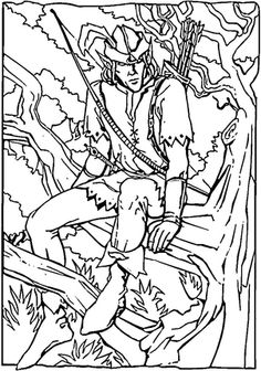 Robin Hood sitting on a tree branch coloring page