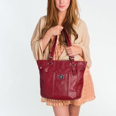 """Grace Adele """"Bella"""" leather bag, in red"""