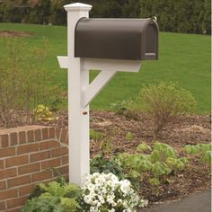Bring home simple elegance and style with the highwood® Hazleton Mailbox Post . This durable post has been improved with a new mailbox support shelf. New Mailbox, Mailbox Post, Mailbox Stand, Mailbox Garden, Brick Mailbox, Mailbox Decals, Mailbox Monogram, Personalized Mailbox, Gardens