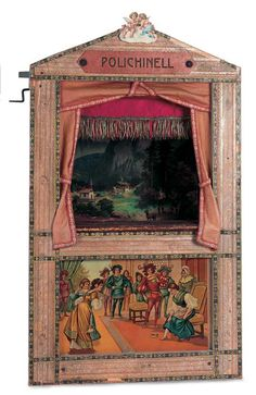 German Wooden Toy Theatre with Wooden Puppets