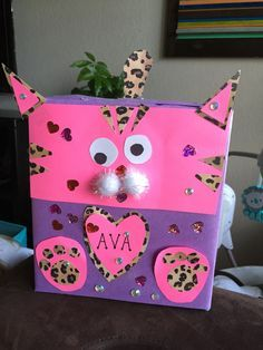 Cat Valentine Card Box Using an empty popcorn and saltine boxes