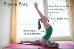 Pigeon pose helps to stimulate blood flow to the hips