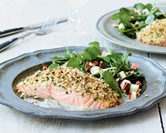 Roasted Salmon with Horseradish Crust and Crème Fraîche - LCBO Food & Drink Healthy Meats, Healthy Recipes, Celeriac, Roasted Salmon, Recipe Details, Creme Fraiche, Tilapia, Fish And Seafood, Food For Thought