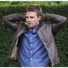 Arrow Stephen Amell Season 2 Brown Celebrity Leather Jacket