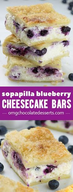 Easy Sopapilla Bars - Yummy layers of crescent rolls, cream cheese and crunchy buttery sugar topping are busted with fresh blueberries.