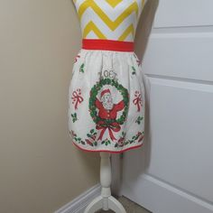 1960s Vintage Linen Christmas Apron Santa Noel Greeting, Christmas Ornaments, Wreath, Candy Cane, Holly, Vintage Christmas Kitchen Apron by VictorianWardrobe on Etsy