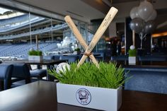 Baseball Theme Bar Mitzvah Party Centerpieces with Bats {Party Planner: The Event of a Lifetime} - mazelmoments.com