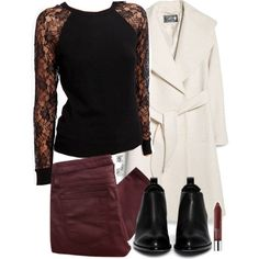 Allison Inspired Outfit with Red Jeans by veterization on Polyvore featuring Forever 21, MANGO, Helmut Lang, Alexander Wang, LC Lauren Conrad and Clinique Dot Dress, Dress Up, Teen Wolf Allison, Teen Wolf Outfits, Red Jeans, Shirt Blouses, Leather Skirt, Fashion Outfits, My Style