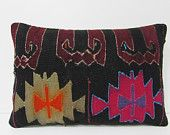 black floor pillow 16X24 ethnic pillow retro fabric turkish fabric antique fabric handmade cushion cover pink pillow kilim pillow sham 18568