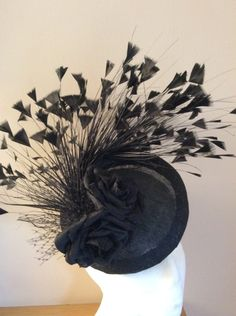 e5e6de6a0a79b Black cocktail hat BY HELEN TILLEY  millinery  hats  HatAcademy